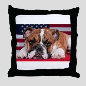 Patriotic Bulldog Throw Pillow
