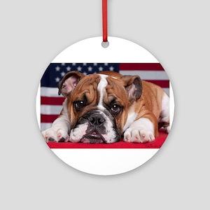 Patriotic Bulldog Ornament (Round)
