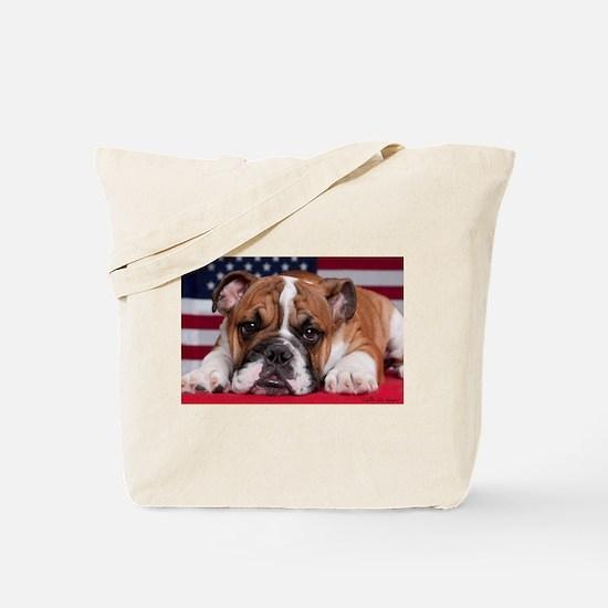 Patriotic Bulldog Tote Bag