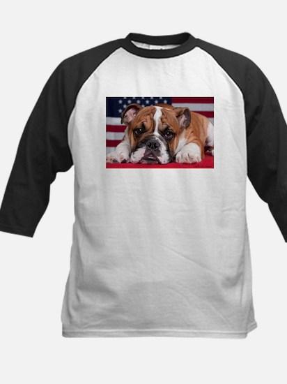 Patriotic Bulldog Kids Baseball Jersey