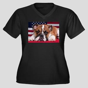 Patriotic Bulldog Women's Plus Size V-Neck Dark T-