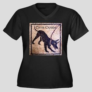"""""""Cave Canem"""" Women's Plus Size V-Neck Dark T-Shirt"""