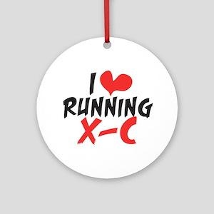 I heart (love) running XC Ornament (Round)