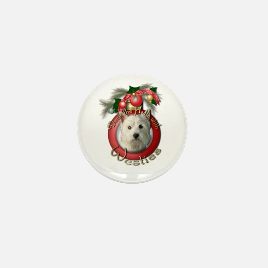 Christmas - Deck the Halls - Westies Mini Button