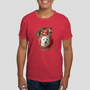 Christmas - Deck the Halls - Westies Dark T-Shirt