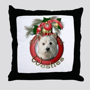 Christmas - Deck the Halls - Westies Throw Pillow