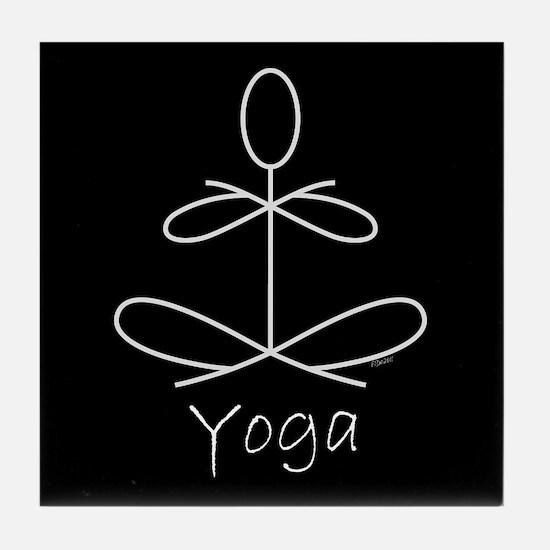 Yoga Glee in White Tile Coaster