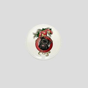 Christmas - Deck the Halls - Pugs Mini Button