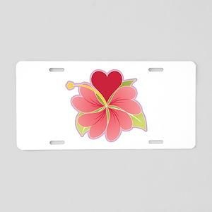 Hibiscus Heart Aluminum License Plate