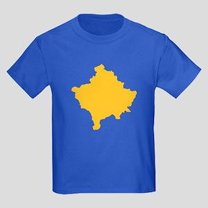 Kosovo Map Yellow Kids Dark T-Shirt