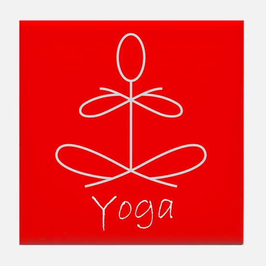 Yoga in Red Tile Coaster