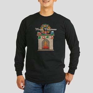 Christmas Fireplace Long Sleeve Dark T-Shirt