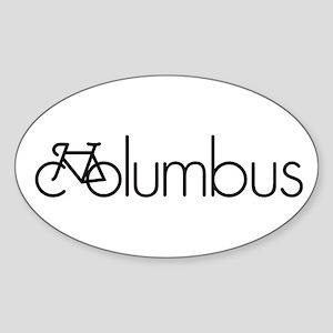Bike Columbus Sticker (Oval)