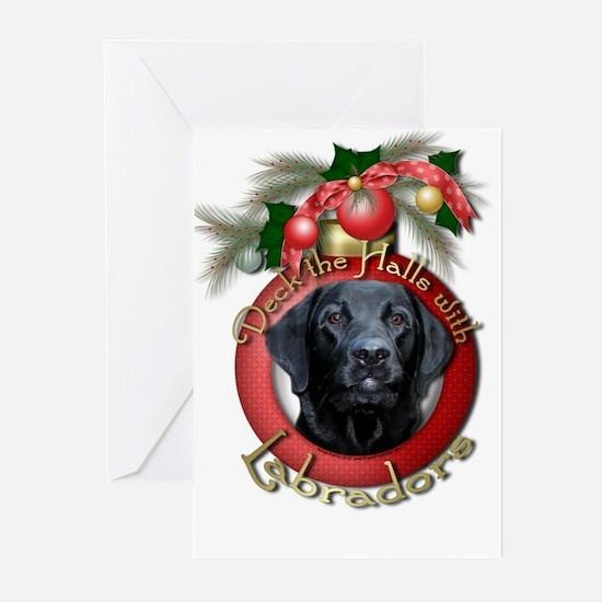 Christmas - Deck the Halls - Labradors Greeting Ca