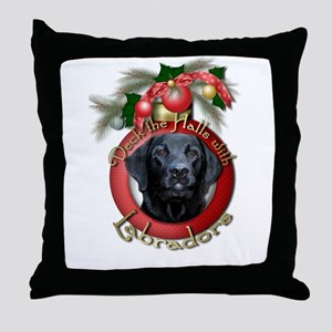 Christmas - Deck the Halls - Labradors Throw Pillo