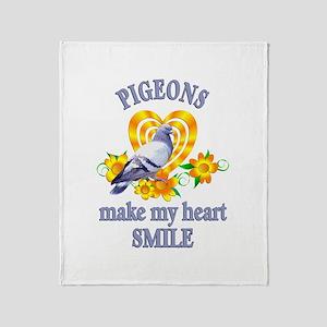 Pigeon Smile Throw Blanket