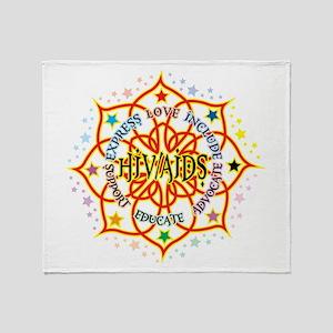 HIV/AIDS Lotus Throw Blanket