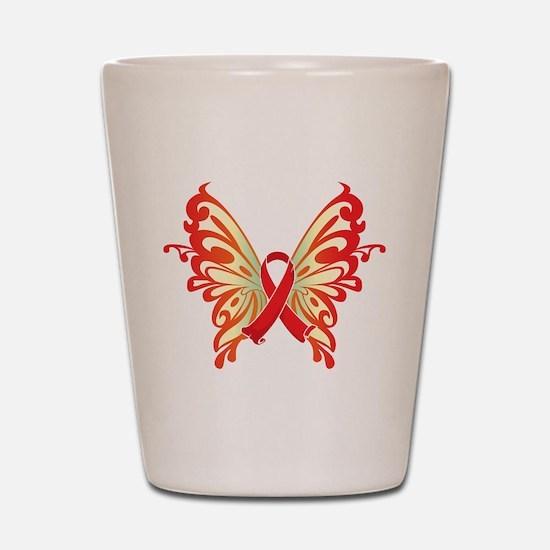 AIDS Ribbon Butterfly Shot Glass