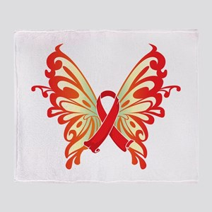 AIDS Ribbon Butterfly Throw Blanket