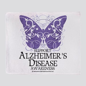 Alzhimers Butterfly 4 Throw Blanket