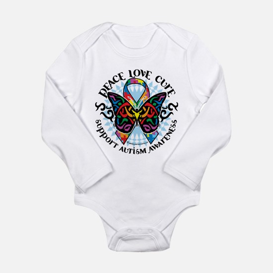 Autism Tribal Butterfly 2 Long Sleeve Infant Bodys