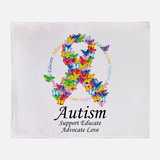 Autism Butterfly Ribbon Throw Blanket