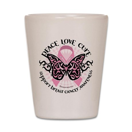 Breast Cancer Butterfly Triba Shot Glass