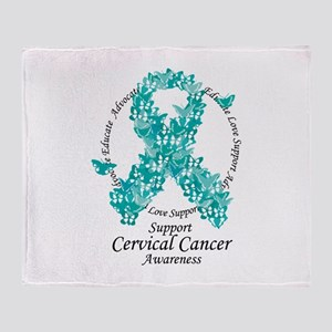 Cervical Cancer Butterfly Rib Throw Blanket