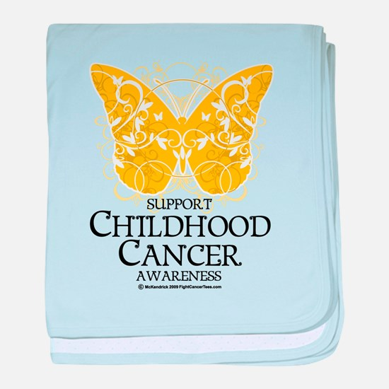 Childhood Cancer Butterfly 2 baby blanket