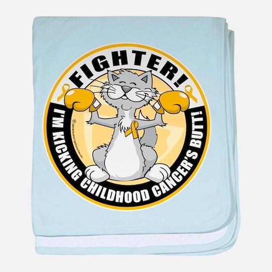 Childhood Cancer Fighter Cat baby blanket