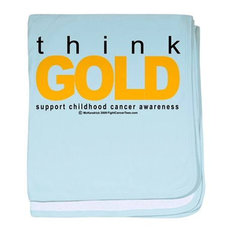 Childhood Cancer Think Gold baby blanket