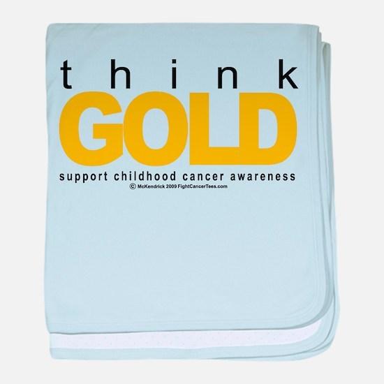 Childhood Cancer Think Gold baby blanket