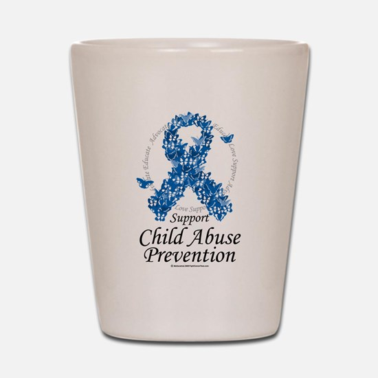 Child Abuse Ribbon Of Butterf Shot Glass