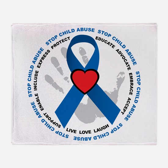 Stop Child Abuse Ribbon Throw Blanket