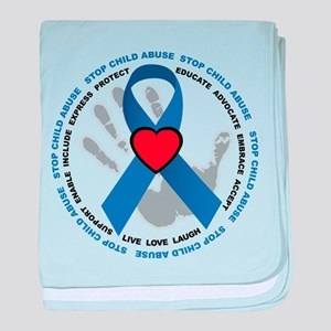 Stop Child Abuse Ribbon baby blanket