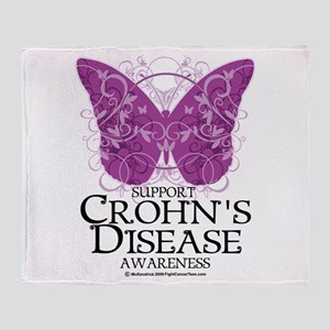 Crohn's Disease Butterfly Throw Blanket
