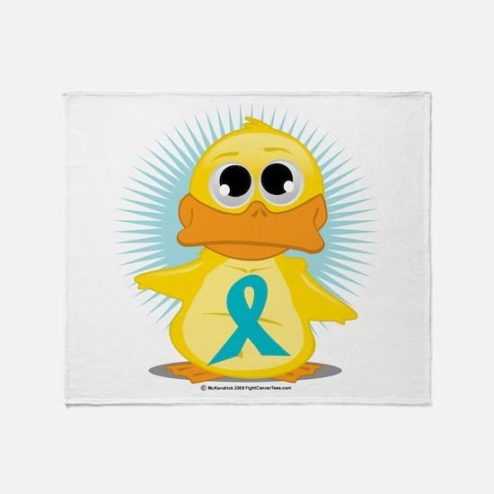 Teal Ribbon Duck Throw Blanket