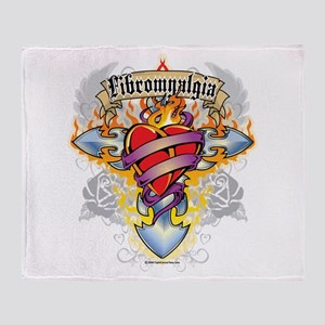 Fibromyalgia Cross & Heart Throw Blanket