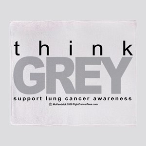 Lung Cancer Think Grey Throw Blanket
