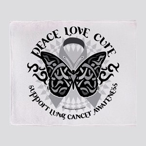 Lung Cancer Butterfly Tribal Throw Blanket