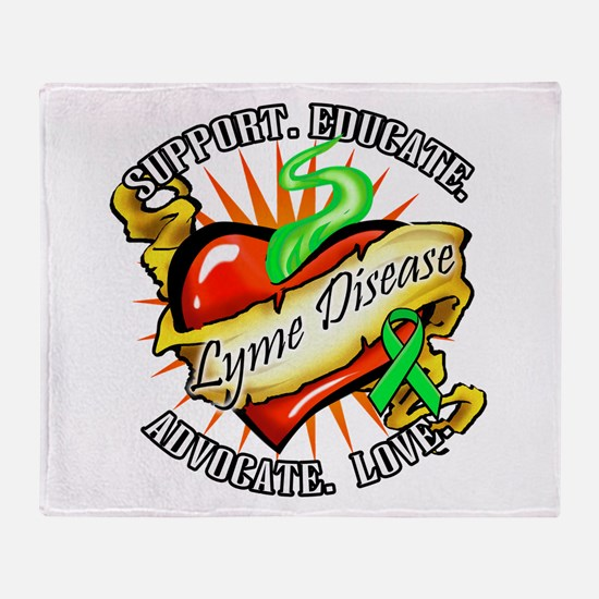 Lyme Disease Heart Tat Throw Blanket