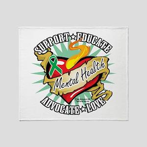Mental Health Classic Heart Throw Blanket