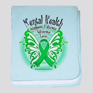 Mental Health Butterfly 3 baby blanket