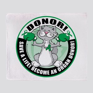 Organ Donor Fighter Cat Throw Blanket