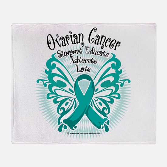 Ovarian Cancer Butterfly 2 Throw Blanket