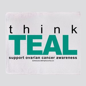 Ovarian Cancer THINK TEAL Throw Blanket