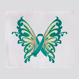 Ovarian Cancer Butterfly Throw Blanket