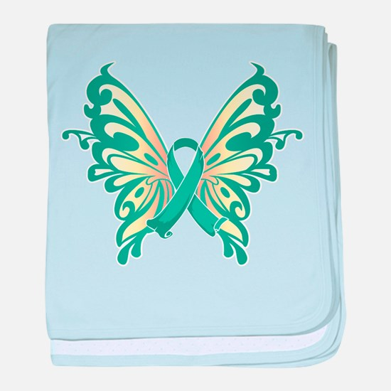 Ovarian Cancer Butterfly baby blanket