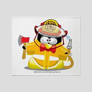 Fireman Penguin Throw Blanket