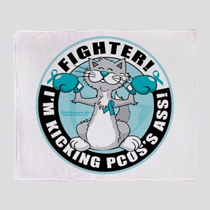 PCOS Cat Fighter Throw Blanket